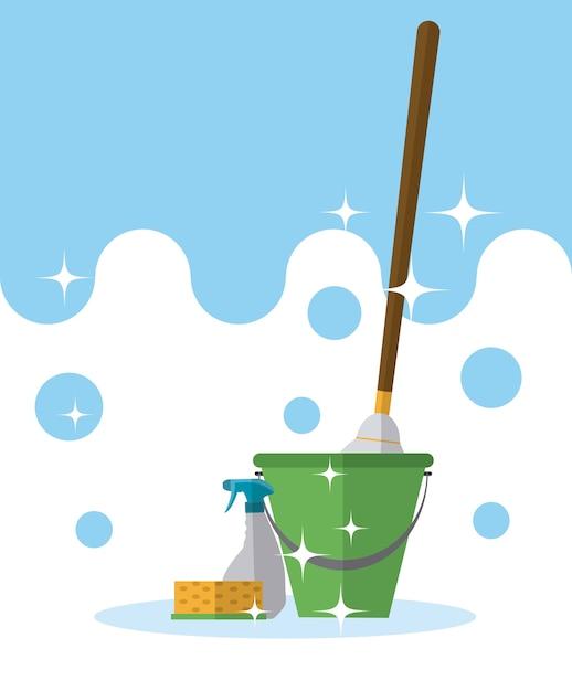 Bucket and mop with detergents Premium Vector