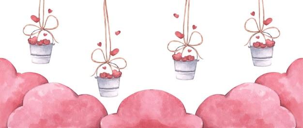 ピンクの雲とロープにぶら下がっている心のバケツ。愛とバレンタインデーのイラスト。水彩イラスト。 Premiumベクター