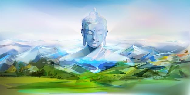 仏と山々、ベクトルイラスト Premiumベクター