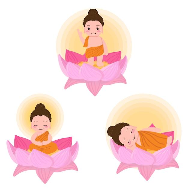 Buddha birth enlighten nirvana on vesak day Premium Vector