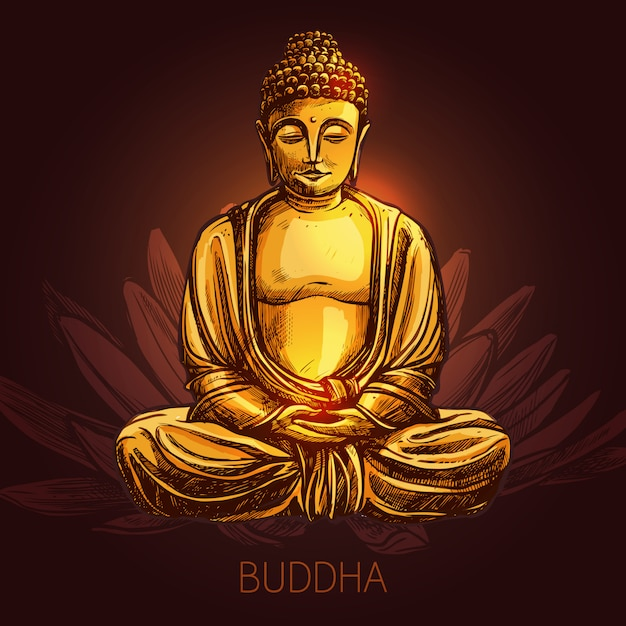 Buddha on lotus flower illustration Free Vector