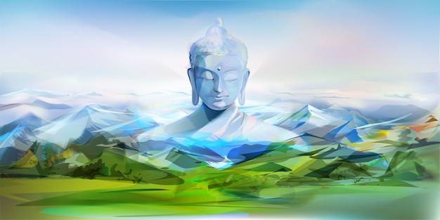 Buddha and mountains, vector illustration Premium Vector