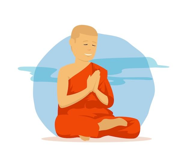 アジアの宗教服で祈る僧侶 Premiumベクター