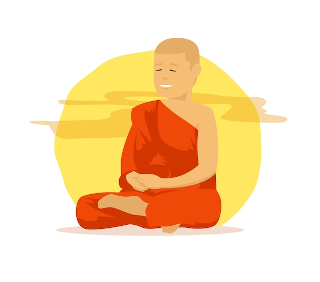 瞑想をしているオレンジの服を着た僧侶 Premiumベクター