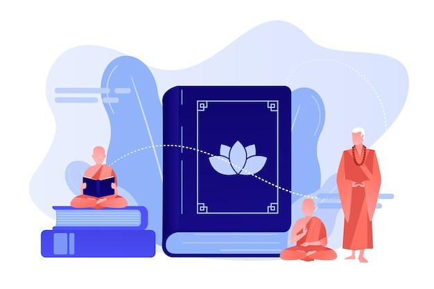 Monaci buddisti in vesti arancioni che meditano e leggono, minuscole persone. buddismo zen, luogo di culto buddista, concetto di libro sacro buddista. pinkish coral bluevector illustrazione isolata Vettore gratuito