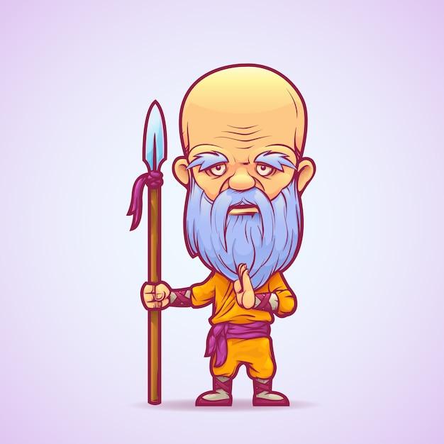 Buddhist warrior monk Premium Vector