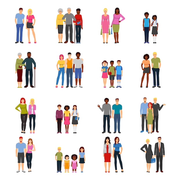Buddies friends flat icons collection Free Vector