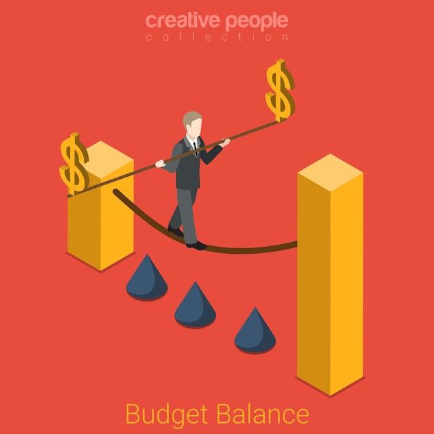 예산 균형 평면 아이소 메트릭 비즈니스 금융 정부 상태 기업 금융 개념 사업가 밧줄 도보 달러 기호 극. 창의적인 사람들 컬렉션 무료 벡터