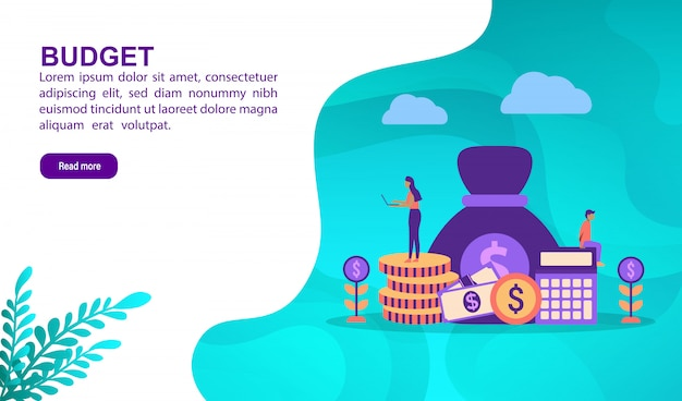 Budget illustration concept with character. landing page template Premium Vector