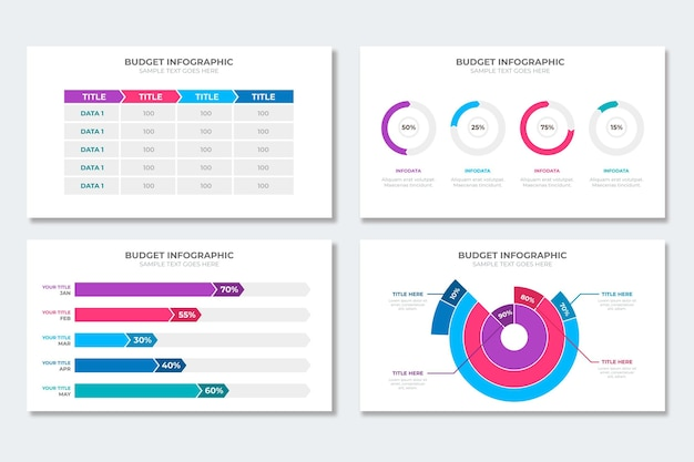 Budget infographic collection Free Vector