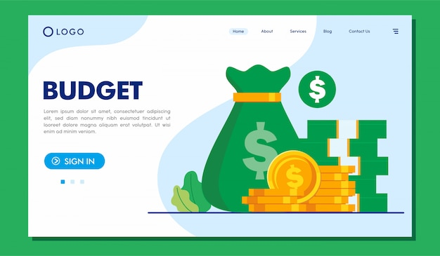 Budget landing page website illustration template Premium Vector