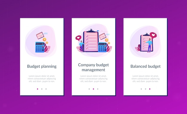 Budget planning app interface template Premium Vector