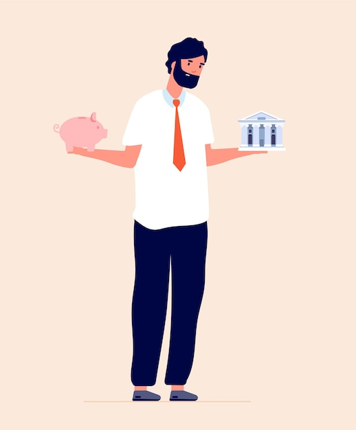 予算計画。銀行と貯金箱のどちらかを選択し、金融投資のリテラシー。お金を節約する人、経済顧問のベクトルの概念。個人比較、投資イラスト間 Premiumベクター