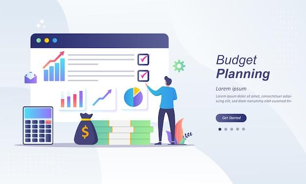 予算計画、紙のチェックリストの財務アナリスト Premiumベクター