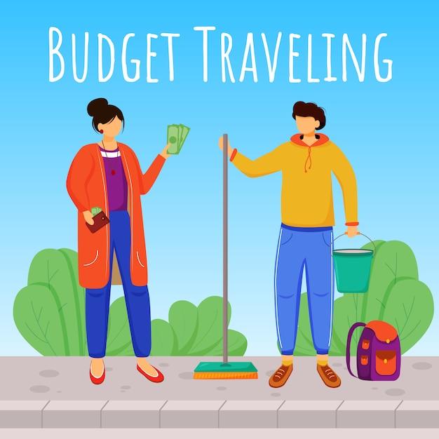 予算旅行ソーシャルメディア投稿。クリーナーとして働いています。広告webバナーテンプレート。ソーシャルメディアブースター、コンテンツレイアウト。プロモーションポスター、イラスト付き広告の印刷 Premiumベクター