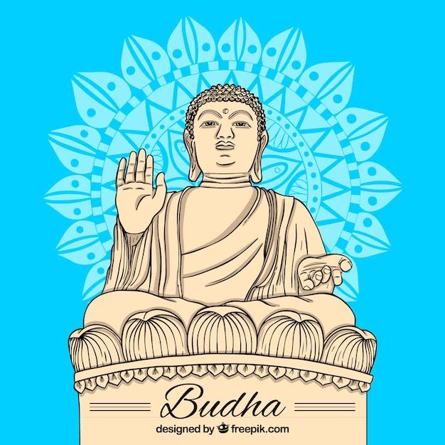 手描きのスタイルでbudhaの像 無料ベクター