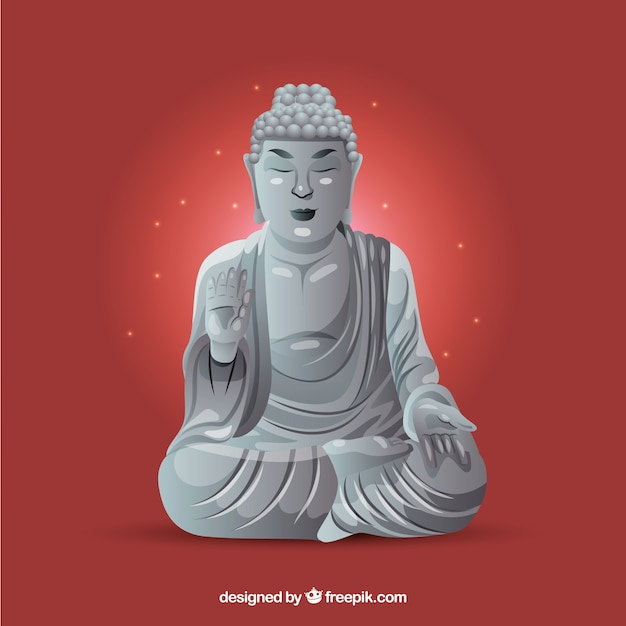 Budha statue with realistic design Free Vector