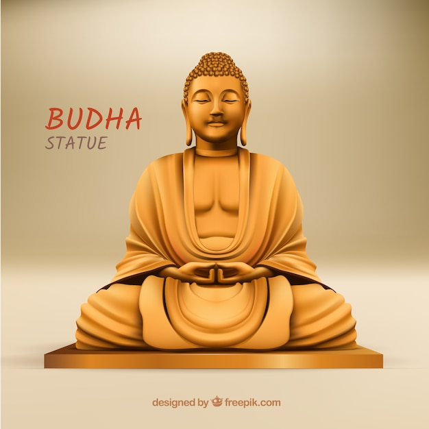 Budha statue with realistic style Free Vector