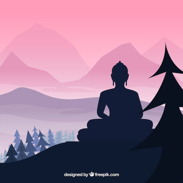 Budha statue with silhouette style Free Vector