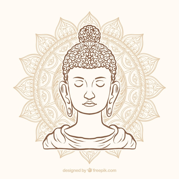 手描きのスタイルで伝統的なbudha 無料ベクター