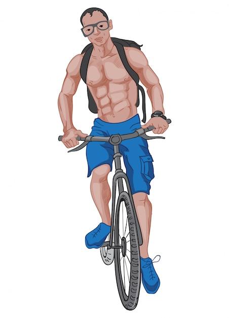 Buff uomo in pantaloncini blu e scarpe, con uno zaino, occhiali e un orologio in sella alla bicicletta Vettore gratuito