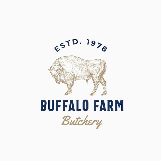 バッファローファーム肉屋抽象記号、記号またはロゴのテンプレート。 無料ベクター