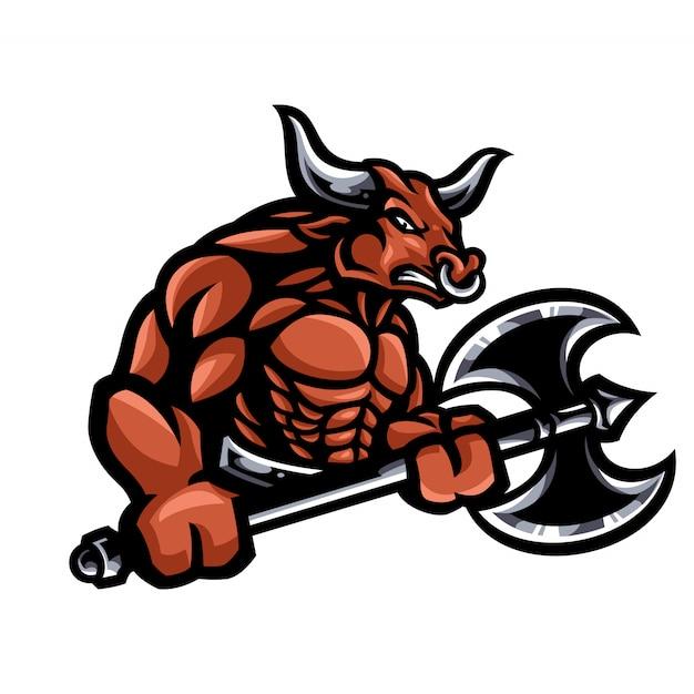 Buffalo mascot cartoon character Premium Vector
