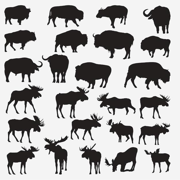 Buffalo moose silhouettes Premium Vector