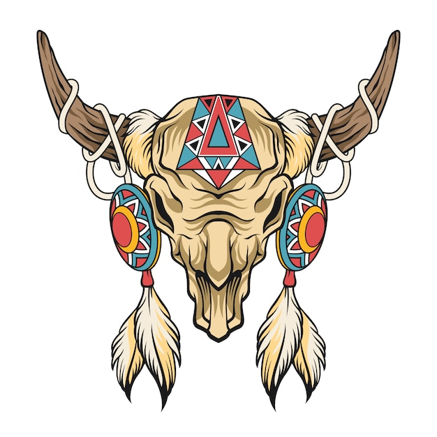 Buffalo skull.  art Premium Vector