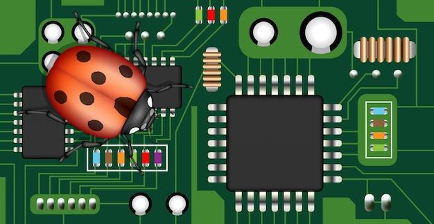 Bug on a electric circuit board Premium Vector