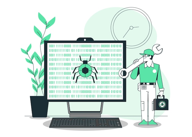 Bug fixing concept illustration Free Vector