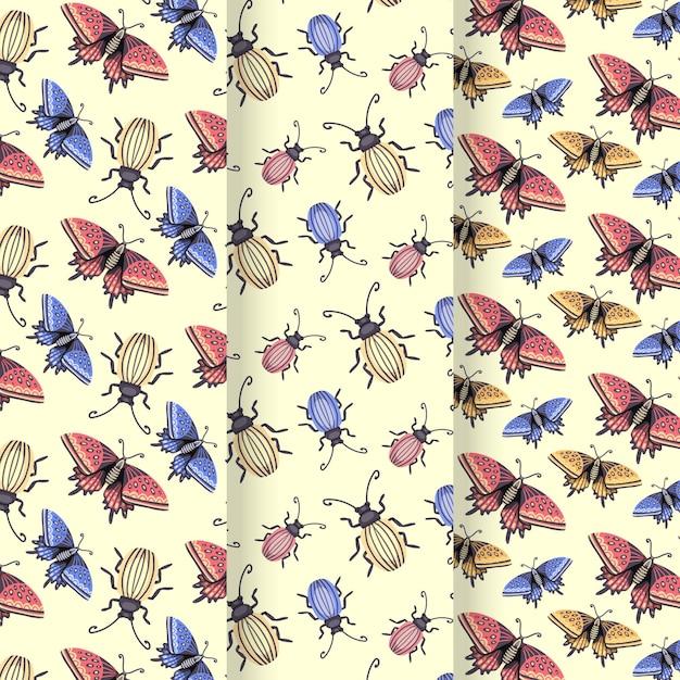 Collezione di pattern di bug Vettore gratuito