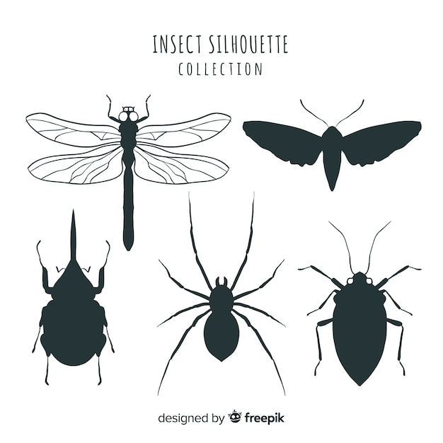 Bugs silhouette collection Free Vector