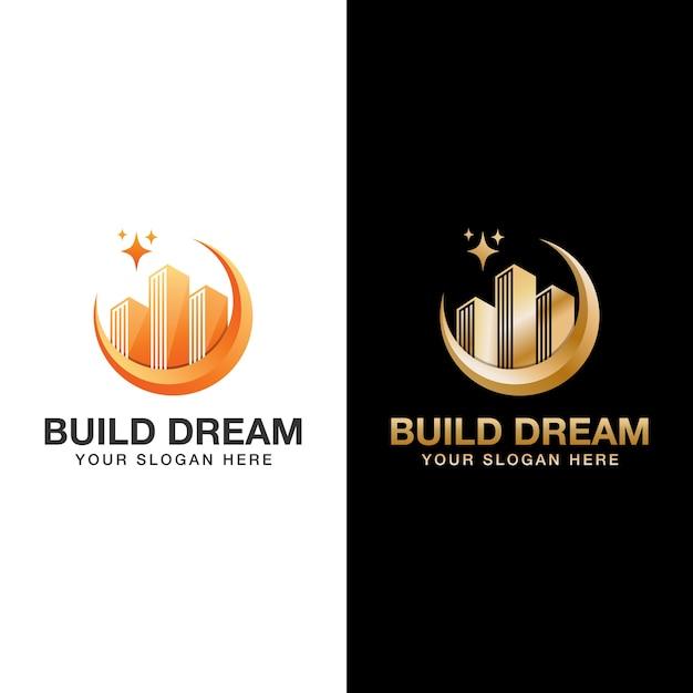 Создайте логотип мечты, строитель, шаблон логотипа здания Premium векторы