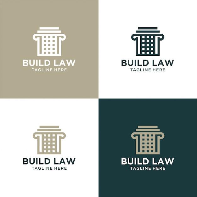 柱のロゴの豪華なデザインで法律の要約を作成する Premiumベクター