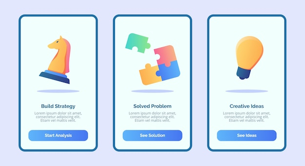 Build strategy solved problem creative ideas for mobile apps template banner page ui with three variations modern flat color style Premium Vector