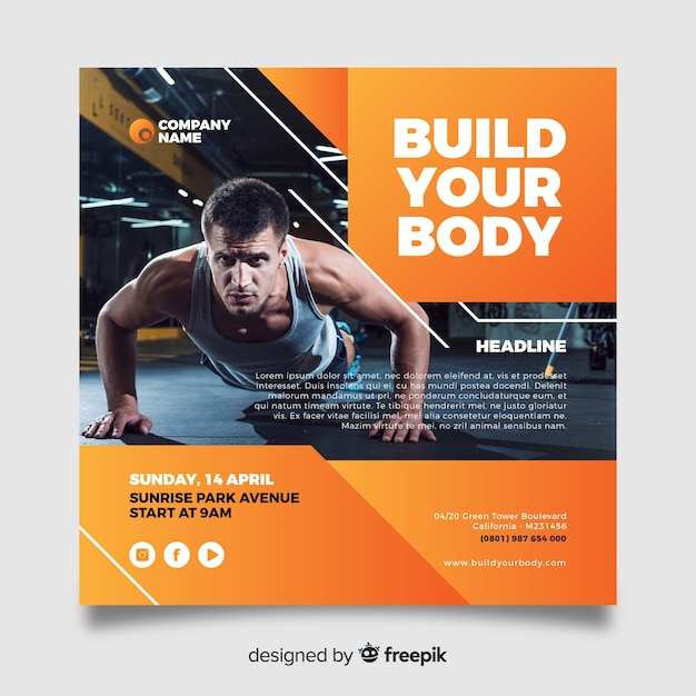 Build your body sport flyer with image Free Vector
