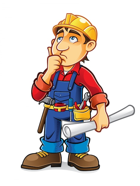 Builder are thinking with hand on chin and holding the blueprint Premium Vector