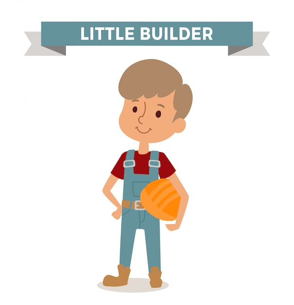 Builder boy with car rude isolated Premium Vector
