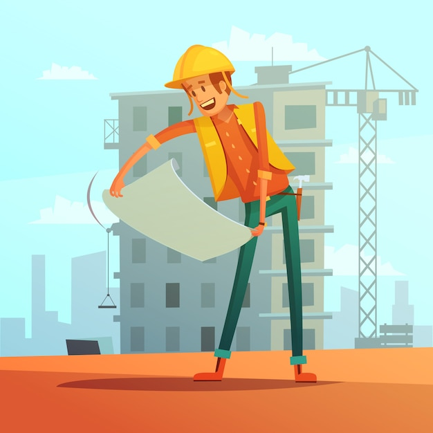 Builder and building plan cartoon background Free Vector
