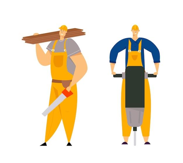 Персонажи-строители в спецодежде. инженеры-строители с инструментами строительного оборудования. плотник-ремонтник, маляр, строители. Premium векторы