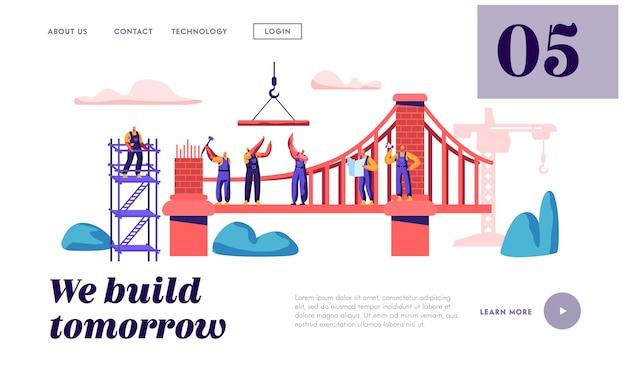 Строитель построит кирпичный мост с помощью строительного крана и посадочной страницы молотка. архитектор строит ворота. инженер на веб-сайте или веб-странице объекта лестницы. плоский мультфильм векторные иллюстрации Premium векторы