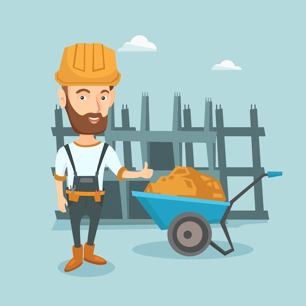 Builder giving thumb up vector illustration. Premium Vector