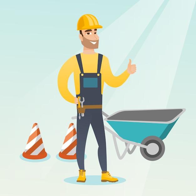 Builder giving thumb up vector illustration. Premium Vector