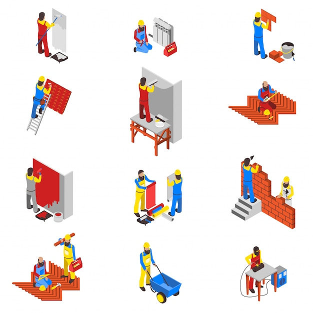 Builder icons set Free Vector