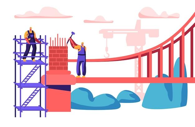 Строитель человек строит мост с кирпичами. группа инженеров построить ворота с молотком. рабочий в шлеме, стоящий на лестнице. инженерный строительный кран плоский мультфильм векторные иллюстрации Premium векторы