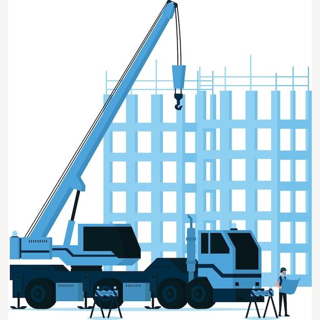 建設クレーンフックイラストの前に建設地図を見てビルダー男 Premiumベクター