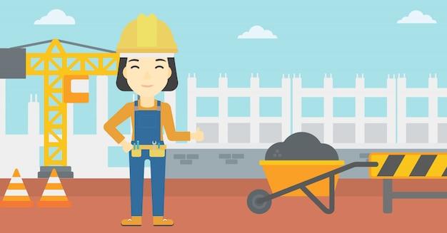 Builder showing thumbs up. Premium Vector