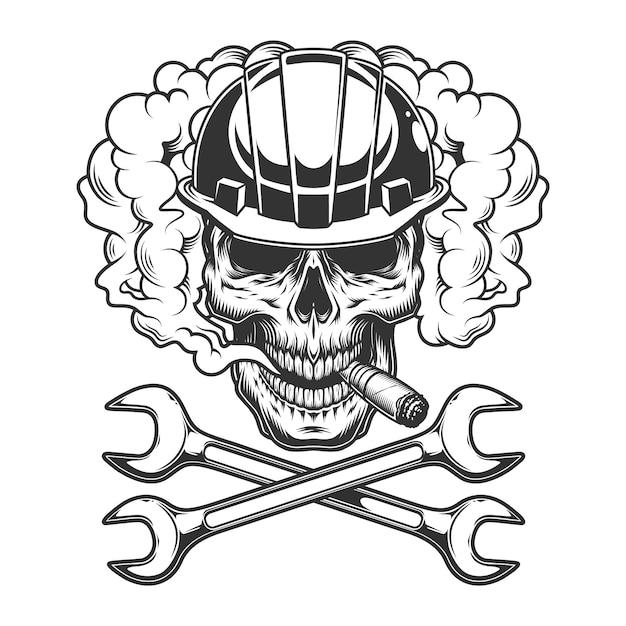 Builder skull smoking cigar Free Vector