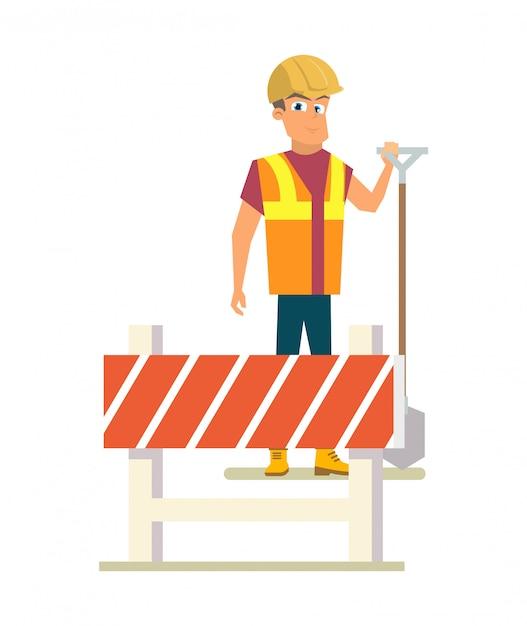 Строитель с лопатой на дорожных работах плоский вектор Бесплатные векторы